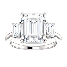Engagement Ring Emerald Cut 4.8CT Custom by BelViaggioDesigns