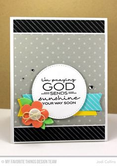 Handmade card from Jodi Collins featuring Cheerful Blessings stamp set, Diagonal Stripes Background stamp, Blueprints 2 and Blueprints 12 Die-namics and Swiss Dots stencil #mftstamps