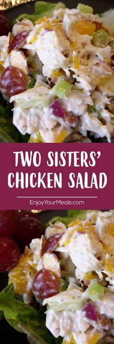 Two Sisters' Chicken Salad - Enjoy Your meals - Salad Recipes Avocado Salad, Fruit Salad, Food Salad, William Morris, Chicken Salad Recipes, Salad Chicken, Chicken Salad Recipe With Fruit, Cooked Chicken, Cooking Recipes