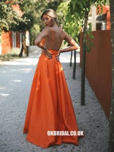 Prom Dresses Beautiful, Open Back Long Simple Prom Dress, Looking for the perfect prom dress to shine on your big night? Prom Dresses 2020 collection offers a variety of stunning, stylish ball. Orange Prom Dresses, Gold Prom Dresses, Prom Dresses For Teens, Cheap Prom Dresses, Formal Dresses, Prom Gowns, Dress Prom, Vestidos Color Naranja, Simple Prom Dress