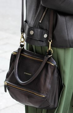 Black leather + olive pleat: