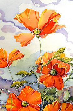 Poppies, cold batik, by Maria Kamenskaya