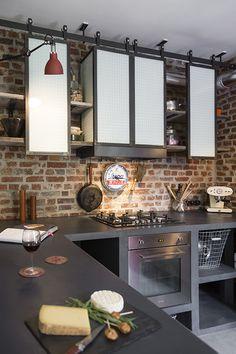 Étagères de cuisine de style indus en acier. Conception et fabrication Les Ateliers du 4