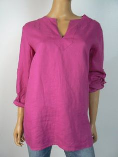 LAUREN Ralph Lauren Pink Vneck Button Cuff Blouse Top