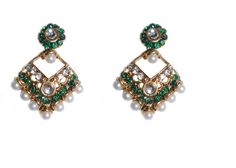 Traditional green drop earring for women