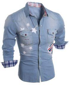 Turn-Down Collar Flag and Stars Print Long Sleeve Stripe Splicing Men's Denim Shirt