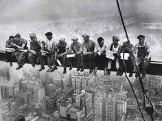 I love these old photos of men having lunch... the old iron workers were so brave to do this every day.. 1932 ~ Rockerfeller Center