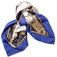 Pre-owned Hermes Scarf/Wrap (£220) ❤ liked on Polyvore featuring accessories, scarves, apparel & accessories, clothing accessories, navy blue, scarves & shawls, hermès, hermes shawl, horse scarves and navy scarves