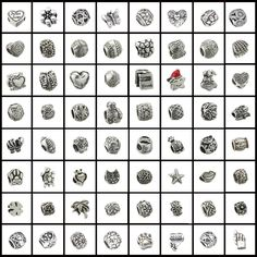 HOMOD 50 pcs mix style fashion silver pated big hole zinc alloy charms beads fit pandora charms bracelet pendants For Woman Gift