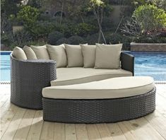 Factory direct sale Discount Wicker Patio Furniture 2 Piece Outdoor Daybed Set