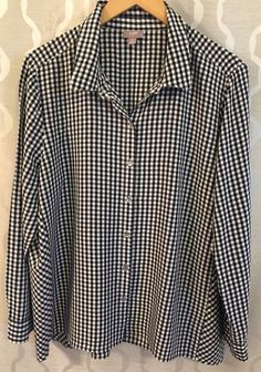 J. Jill Black & White Womens Checked Gingham Long Sleeve Shirt Size Extra Large #JJill #Blouse