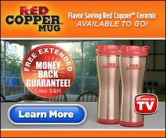 """Red Copper Mug keeps your beverage fresh all day, and also won't spill or tip with the leak-proof lid and vacuum sealed base."""
