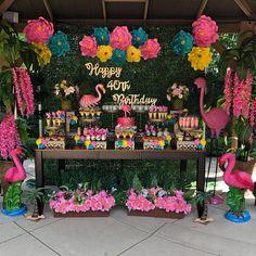 Ideas Candy Theme Party Decorations Sweet 16 For 2020 Flamingo Birthday, Luau Birthday, Flamingo Party, Birthday Party Themes, Luau Party Decorations, Dessert Tables, Party Planners, Party Sweets, Ideas Party