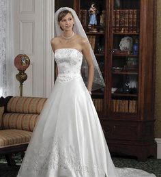 Delicate Strapless Wedding Dresses A Line  Chapel Train