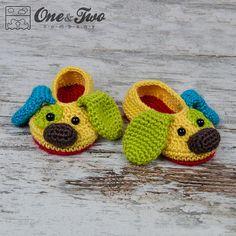 Scrappy el pantuflas perrito feliz - PDF de ganchillo patrones - tallas niño (los E.E.U.U. 6, 7-8, 9) - zapatos niño botines zapatillas