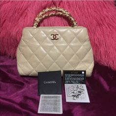 Authentic Chanel purse❌trade authentic chanel purse .Cream color ,size 30 x 20 ,sorry I'm not keep (box or dust bag) but I have card and some paper prove authenticity,have a little dark on the both side of the bottom ,need more pics or information let me know ❤️I would love to do that for you thanks for take time looking my closet CHANEL Bags Shoulder Bags