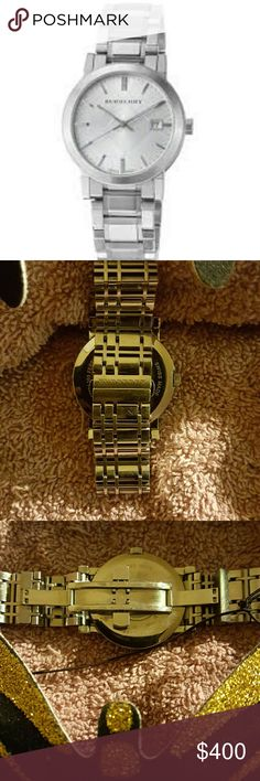 Watch by Burberry Burberry Men's 'Large Check' Silver Dial Stainless Steel Quartz Watch Burberry Accessories Watches