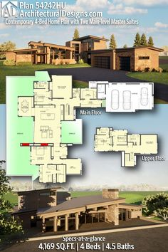 House Plan 5424HU gives you 4100+ square feet of living space with 4 bedrooms and 4.5 baths. AD House Plan #54242HU #adhouseplans #architecturaldesigns #houseplans #homeplans #floorplans #homeplan #floorplan #houseplan Plumbing Drawing, Floor Framing, Roof Detail, Beautiful Home Designs, Modern House Plans, Architecture Plan, Next At Home, Great Rooms, Master Suite
