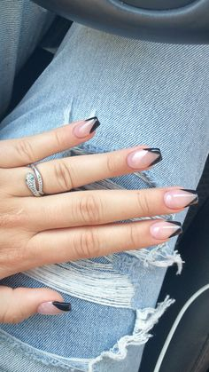 Acrylic nails coffin Coffin nails with a Black V Tip with a pink Base. Short coffin nails Black is s Acrylic Nails Coffin Short, Acrylic Nail Tips, Cute Acrylic Nails, White Tip Nails, White Coffin Nails, French Tip Nails, Cow Nails, Polygel Nails, Dream Nails
