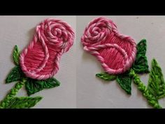 Amazing Hand Embroidery Rose flower design New Hand Embroidery Flower design stitch Types Of Embroidery Stitches, Hand Embroidery Flower Designs, Hand Embroidery Tutorial, Rose Embroidery, Crochet Flowers, Fabric Flowers, Diy Projects For Beginners, 3d Hand, Brazilian Embroidery
