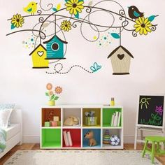 20 Fantastic Kids Playroom Design Ideas – Modern Home Clock Craft, Ideas Dormitorios, Funny Wall Art, Playroom Design, Playroom Ideas, Vinyl Wallpaper, Baby Design, Design Girl, Baby Decor