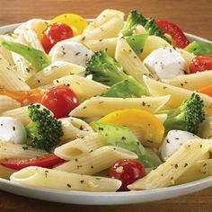 Basil & Garlic Vegetable Pasta with Balsamic Vinaigrette #recipe