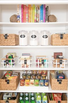 Tips and tricks for organizing your home pantry including color coding and keeping snacks in place.