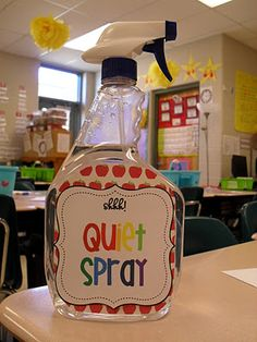 Love this idea...  We actually use this at home with our dogs!  All they have to do is see us REACH for the spray bottle, and they stop barking, LOL!  The teacher that posted this says that she just mists the air, though.  :)