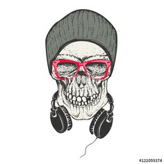 Вектор: Hipster skull in hat and sunglases. Skull with headphones. Desig
