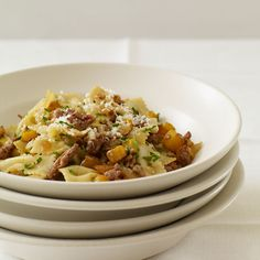 Farfalle with Spicy Sausage and Butternut Squash - Sweet squash is the perfect counterpoint to spicy sausage in this warming winter pasta. http://www.foodandwine.com/recipes/farfalle-with-spicy-sausage-and-butternut-squash