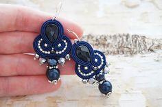 earrings with onyx braid soutache by CattaleyaJewelry on Etsy
