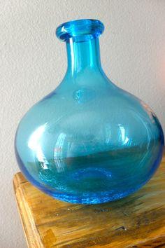 Lg teal glass vase