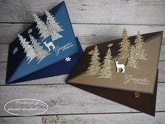Kleine Pop up Weihnachtskarte Stampin`Up! Carols of Christmas Pop Up Christmas Cards, Christmas Love, Christmas Carol, Xmas Cards, Handmade Christmas, Fun Fold Cards, Pop Up Cards, Folded Cards, Card Making Inspiration