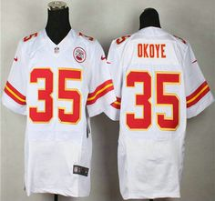 Nike Kansas City Chiefs Jersey 35 Christian Okoye White Elite Jerseys
