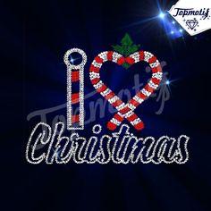Korean Rhinestone Rhinestud I Love Christmas Iron On Motifs Candy Cane Wholesale