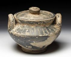 """A Greek Lidded Pyxis - Sunrays  ANTIQUITIES SALEROOM  Magna Graecia, Sicily  Ca. 4th. Century BCE  Cosmetic Jar  2 1/2""""H x 3 1/2""""W  Ex. T.J. Die Collection. Beaumont, TX  Estimate: $300 - $400  Sold: $150.00"""
