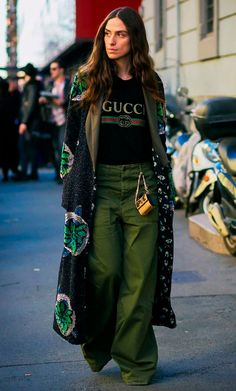 The Street Style Set Debut Biggest Trends Over in Milan - Gucci Shirt - Trending Gucci Shirt for sales. - - The Street Style Set Debut Biggest Trends Over in Milan via Fashion Mode, Look Fashion, Daily Fashion, High Fashion, Autumn Fashion, Womens Fashion, Fashion Trends, Milan Fashion, Cheap Fashion