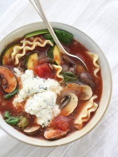 Slow Cooker Vegetarian Lasagna Soup- can use GF noodles, and a cashew ricotta