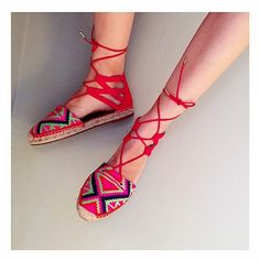 Pandora Jewelry OFF! Love these colorful lace-up woven shoes on Pandora Sykes Designer Shoes On Sale, Fashion Shoes, Fashion Accessories, Fashion Outfits, Espadrilles, Honeymoon Style, Only Shoes, Crochet Shoes, Shoe Sale