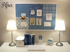 salvaged bulletin board=patchwork bulletin board