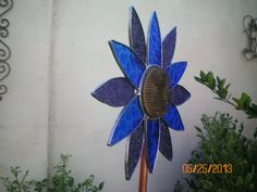 Stained glass yard garden art stake; another way to repurpose a flower frog!