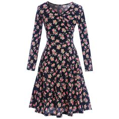 Floral 2xl Floral Long Sleeve Shift Surplice Dress ($10) ❤ liked on Polyvore featuring dresses, flower pattern dress, blue floral dress, blue long sleeve dress, floral print long sleeve dress and floral print dress
