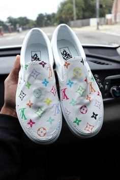 Custom lv vans by cjdope Red Nike Shoes, Nike Shoes Air Force, Dolls Kill Shoes, Custom Vans Shoes, Bling Shoes, Cute Sneakers, Hype Shoes, Painted Shoes, Sneakers Fashion