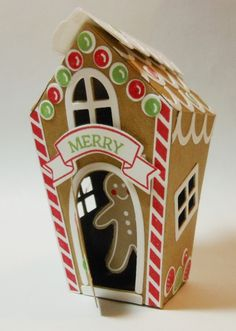 Gingerbread House Ornament for 2016 ~  Stampin Up Home Sweet Home Thinlits and Sweet Home stamp set.  I cut out the Gingerbread Man  from the Candy Cane Lane Designer Series Paper -  Bobbi Kincel, Bitty Paper Blast