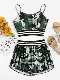 To find out about the Camo Print Striped Panel Cami Top With Shorts at SHEIN, part of our latest Two-piece Outfits ready to shop online today! Pajama Outfits, Camo Outfits, Crop Top Outfits, Sporty Outfits, Stylish Outfits, Shorts Outfits For Teens, Teen Shorts, Summer Outfits, Holiday Outfits