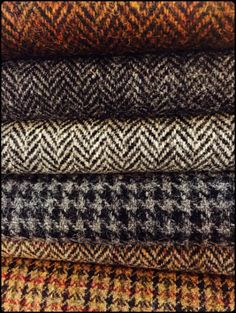 Tweed, tweed, tweed -- looks nice! Textiles, Tweed Run, Fibre Textile, Haberdashery, Tartan Plaid, British Style, Fabric Patterns, Weaving, Mens Fashion