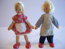 Vintage Polish Wooden Dolls Boy and Girl