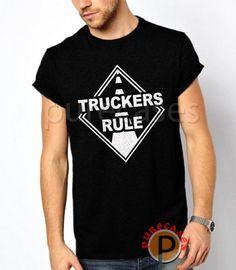 17ff28c16d87 Black TShirt Truckers Rule Men T Shirt Tee