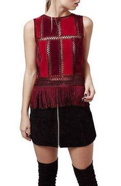 Topshop Fringe Sleeveless Faux Suede Top Ladies Tops - Buy from huge collection of Tops for Women On Cheap Womens Tops, Casual Tops For Women, Crochet Blouse, Crochet Top, Topshop Style, Crochet Clothes, Leather And Lace, Knitwear, Chiffon