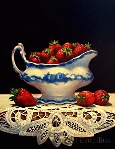 Strawberries & Lace by Cat Corcilius Oil ~ 14 x 11